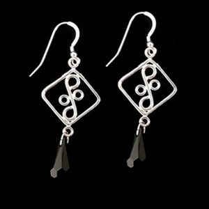 Sterling  Black Crystal Dangle Earrings